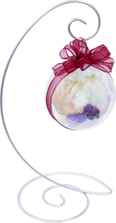Preserved flower ornament with metal stand.