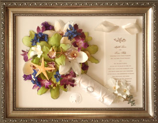 Preserved flowers in a rectangle frame.