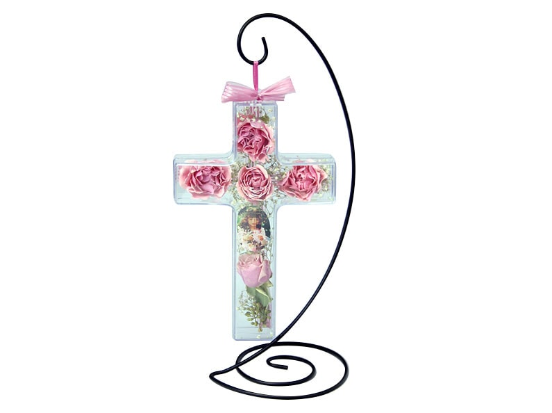 Preserved flower cross ornament